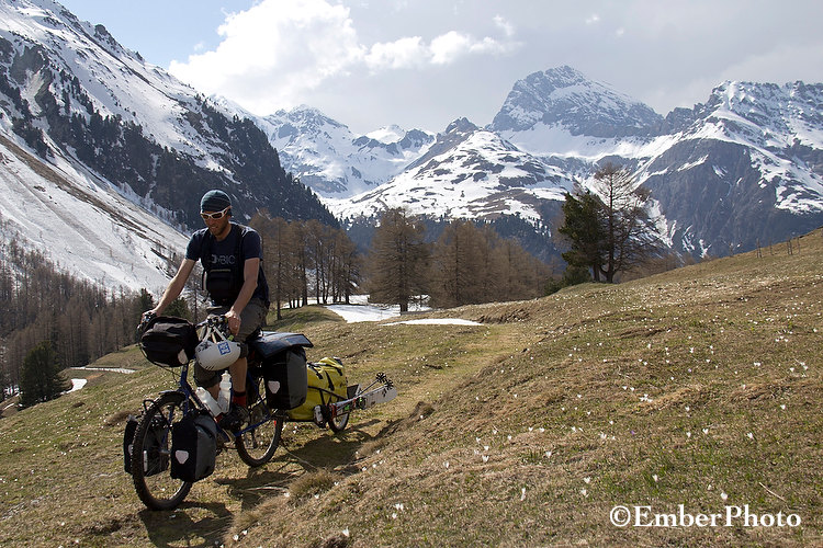 pedal powered skiing, alps, bicycle