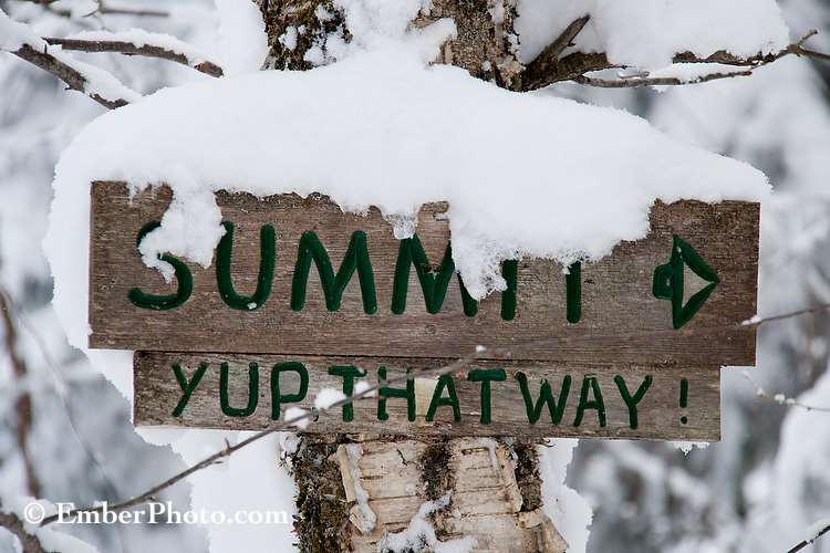 snowy, sign, vermont, trapps,. summit, wood